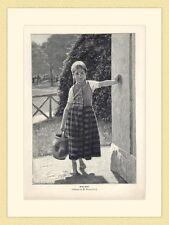 Grüß Gott Mädchen Henkelkrug Gasse  von M. Nonnenbruch ORIGINAL HOLZSTICH II 916