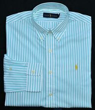 New Medium M POLO RALPH LAUREN Mens button up down dress shirt blue stripes 15.5