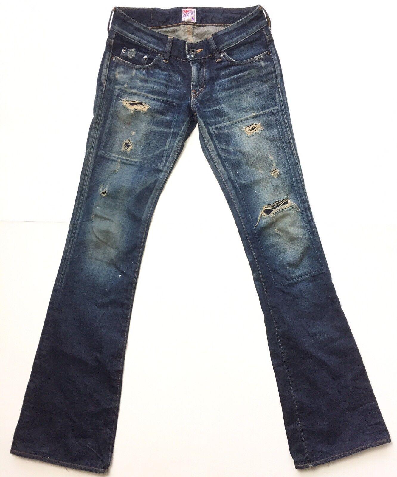 Prps Japan Women's bluee Daytona Distressed Destroyed Bootcut Jeans Size 25
