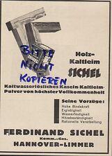 HANNOVER-LIMMER, Werbung 1933, Ferdinand Sichel KG Holz-Kasein-Kalt-Leim