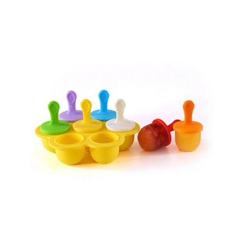 7-Cavity Ice Cream Pop Maker Mold Baby Food Supplement Seal Storage Box Charm