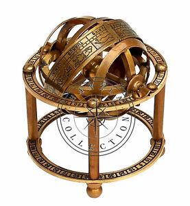Antique Brass Armillary Sphere Maritime Nautical Decor Collectible Astrolabe