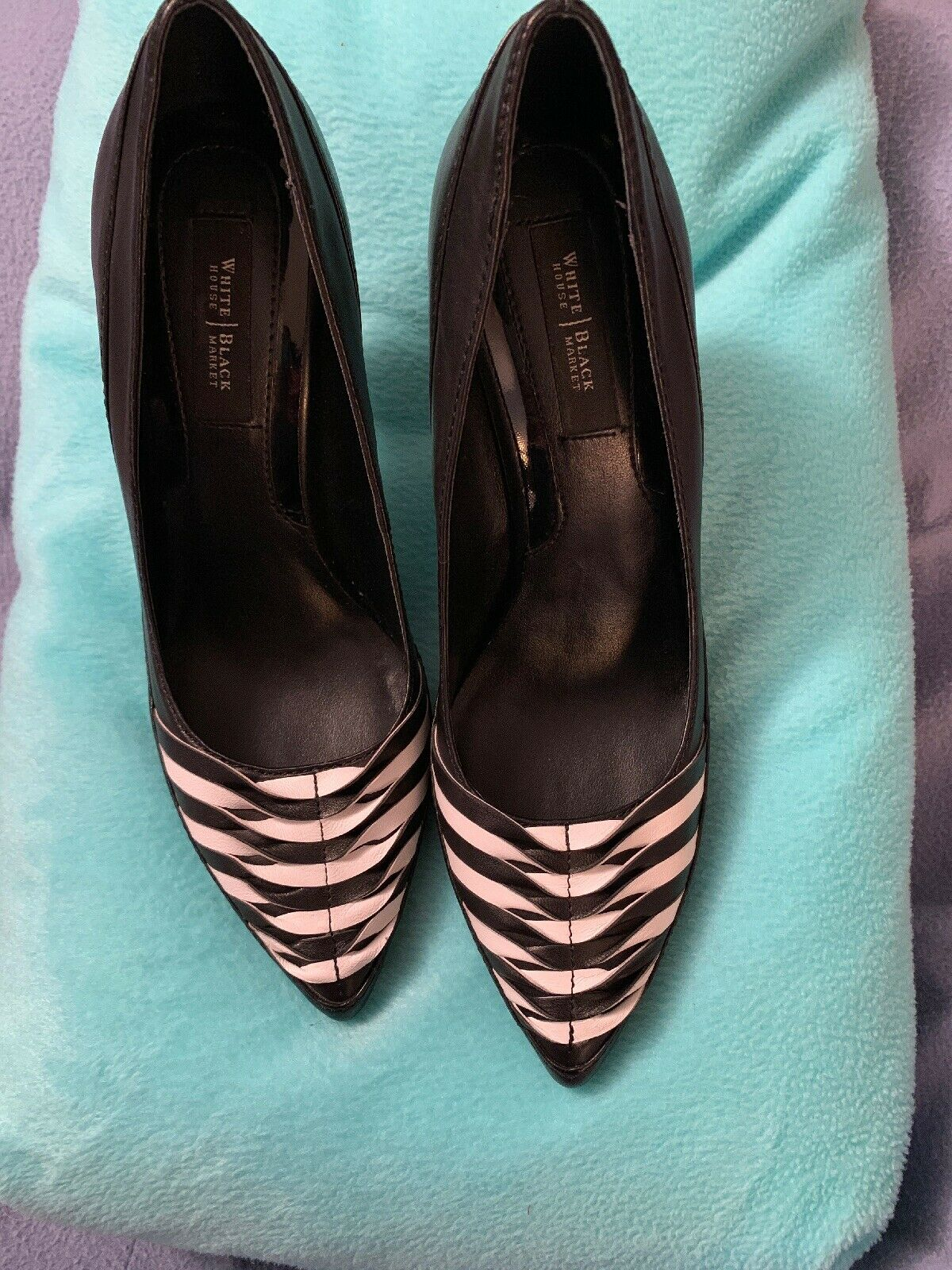 White House Black Market Scarlett Black White Leather Pumps Heels Size 6 M EUC