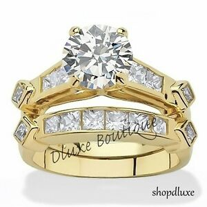 WOMEN-039-S-14K-GOLD-PLATED-AAA-CZ-WEDDING-amp-ENGAGEMENT-RING-SET-SIZE-5-6-7-8-9-10