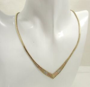 Beautiful-Vintage-Three-Colour-Gold-Mesh-Necklace