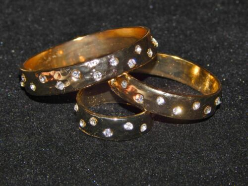NWT WOMENS 3 PIECE ROUND SILVER OR GOLD HAMMERED SCARF RINGS W//CLEAR RHINESTONES