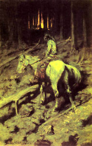 APACHE-INDIAN-FIRE-IN-THE-WOODS-AMERICAN-BY-REMINGTON-ON-CANVAS-REPRO-LARGE