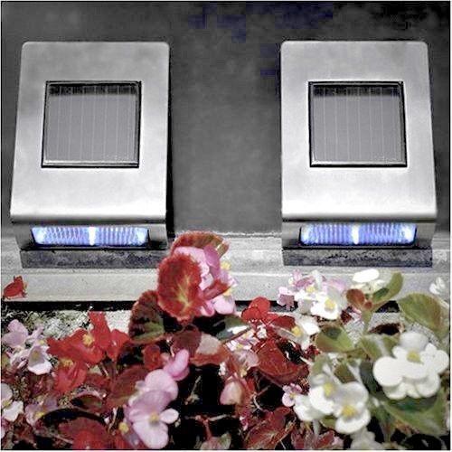 2x Acciaio inox Moderno Outdoor Luci Solare Per Giardino Recinto Muro Luci a LED verso il basso