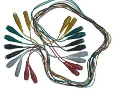 10 Pc Test Leads Set Heavy Duty 26 Gauge Insulated Copper Large Alligator Clips