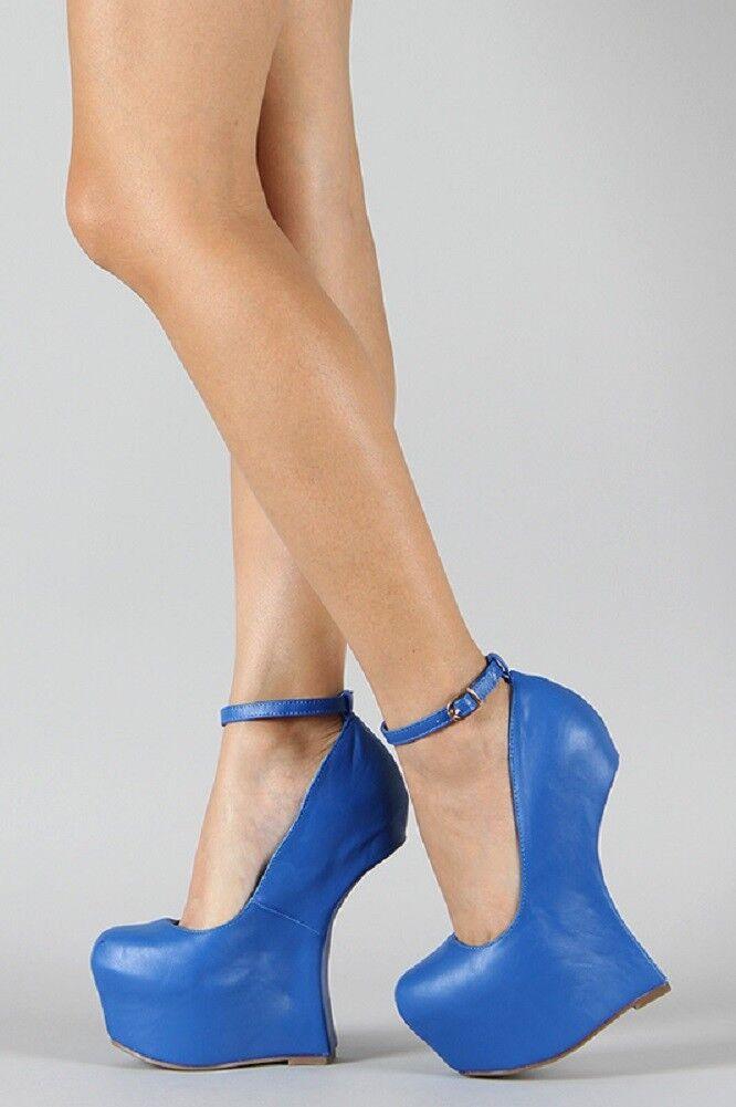 Blau Vegan Faux Leder Ankle Strap Curved Heel Less Platform Wedge Pump 6/7/8