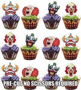 Precortada-Miedo-Payaso-Cara-Comestible-Cupcake-Decoracion-Fiesta-Halloween