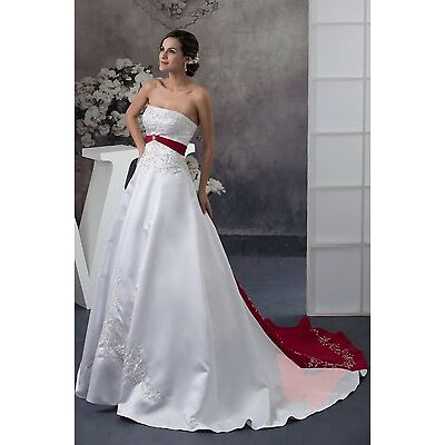 White and Red Long train WEDDING Dress Bridal GOWN SIZE6,8,10,12,14,16 WDH1-409