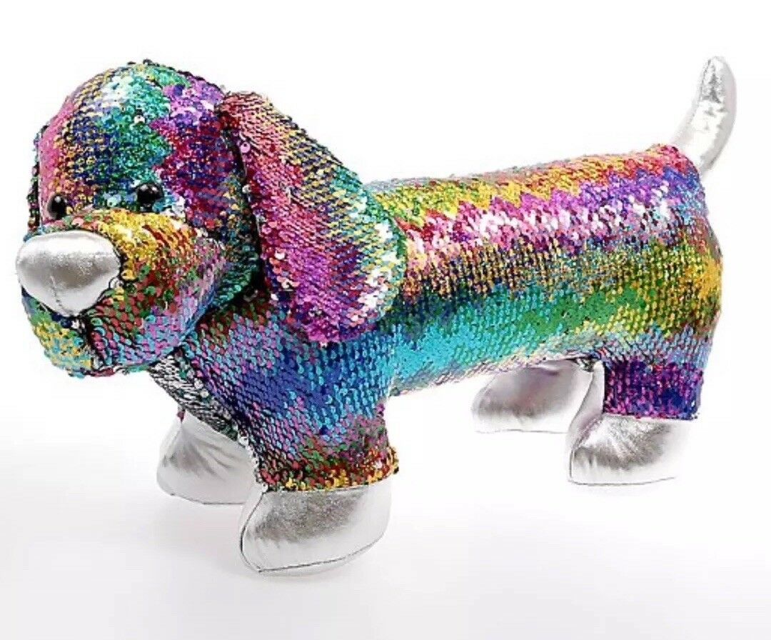 48cm Wide Luxury Swipe Sequin Rainbow Dog Plush Soft TOY Kid Room Home Deco Gift