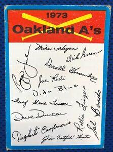 New Listing 1973 TOPPS BLUE TEAM CHECKLIST (Oakland A's) Baseball Card