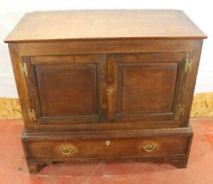 1880-Oak-Cupboard-on-Stand-with-Shelves-and-Drawer