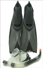 National Geographic Wahoo 48 Scuba Diving Mask Snorkel Fin Set - Black - Medium