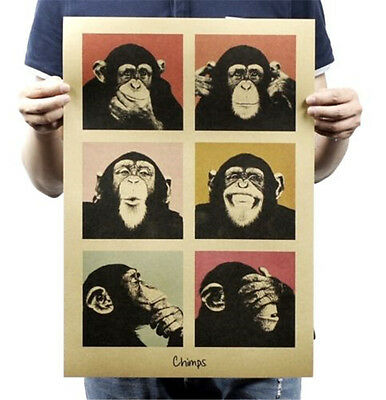 FD3330 Chimps Paper Posters Kraft Restaurant Bar Coffee Shop Wall Adornment ☆