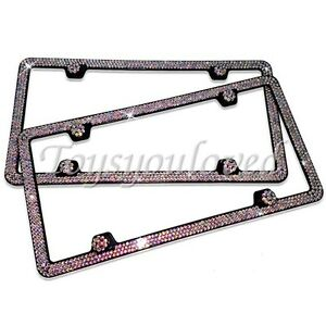 Swarovski Black Crystal Bling license plate frame Inlay Black Frame+Screw Caps