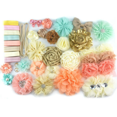 42-89pcs Baby Girls Flower Headband DIY Accessories For Infant Headwear Hairband