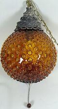 Bubble Glass Ceiling Light Swag Lamp Chain Hanging Amber Globe Pendant Vtg 1970s