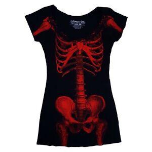 Kreepsville-666-Gothic-Horror-Punk-Red-Skeleton-Bones-Black-Tunic-Mini-Dress-L