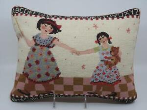 Katha-Diddel-Needlepoint-Petit-Point-Pillow-Two-Girls-Sisters-Engelbreit-Style