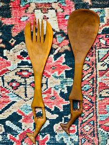 African Giraffe Hand Carved Wood Fork/Spoon Tongs Salad Server Set Vintage MCM