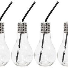 Set of 4 Light Bulb Drinking Jars Glasses & Straws Party Cocktail Pop Lightbulb