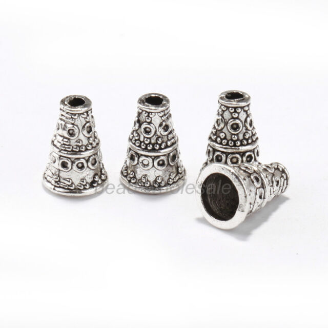 Lots 50 pcs Tibetan Antique Silver Cone Bead Caps End Beads Findings 10x7mm