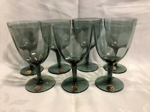 7-Gildhar-Gray-Optic-Crystal-Wine-Glasses-VTG-Bohemia-Smoky-NOS