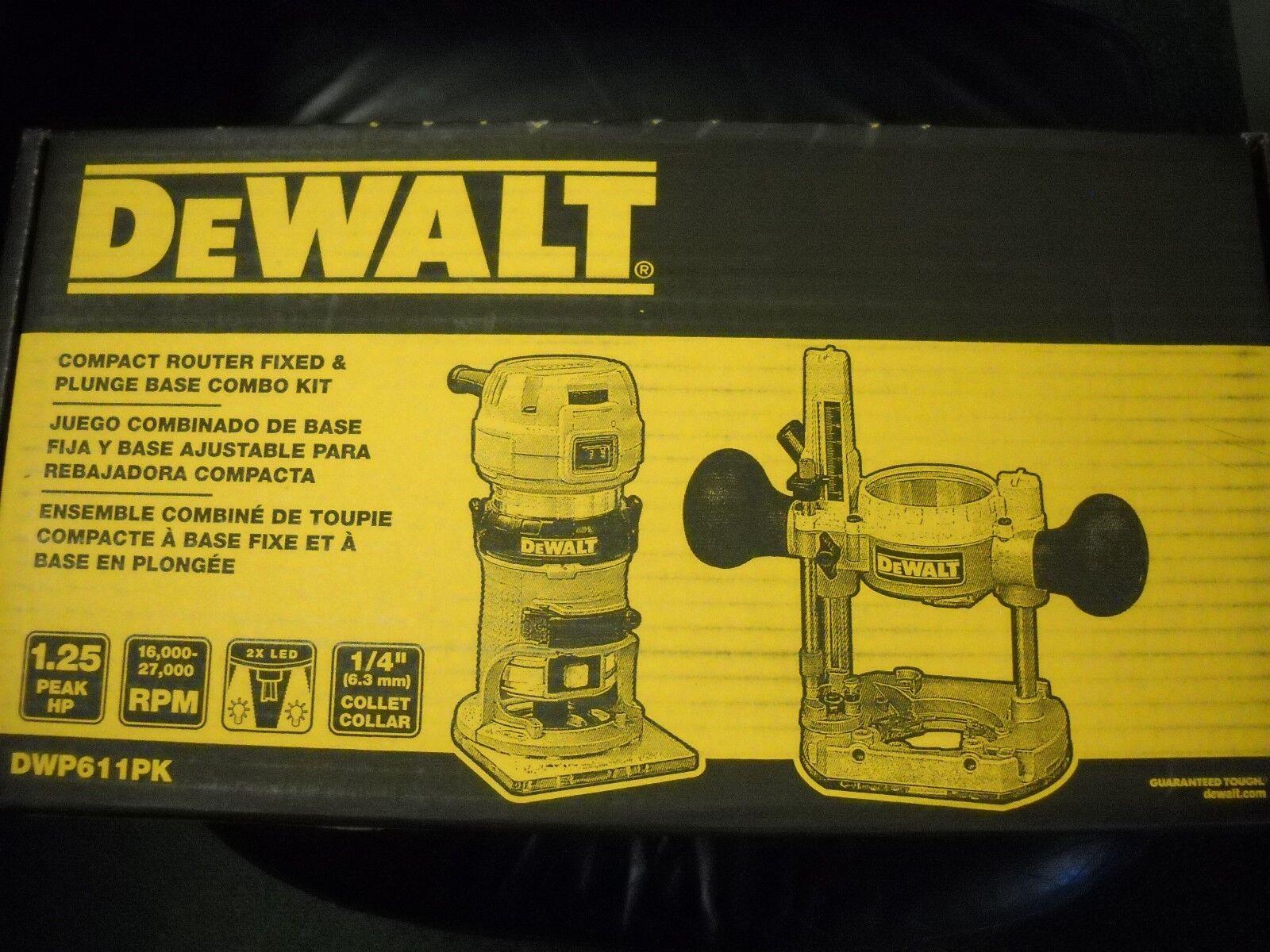 DEWALT DWP611PK 120V Premium Compact 1-1/4 HP Router Fixed/Plunge Combo Kit New
