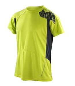 Para-Hombre-Alta-Visibilidad-Fluorescente-Hi-Viz-Vis-Running-Entrenamiento-Top-T-Shirt