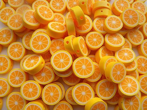 LIMITED QUANTITY HIGHLY IN DEMAND ORANGE BEADS 10MM POLYMER CLAY FAST FREE P/&P