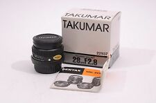 MINT- BOXED PENTAX TAKUMAR-A 28mm f2.8 PK MOUNT WIDE-ANGLE PRIME LENS +L39 UV