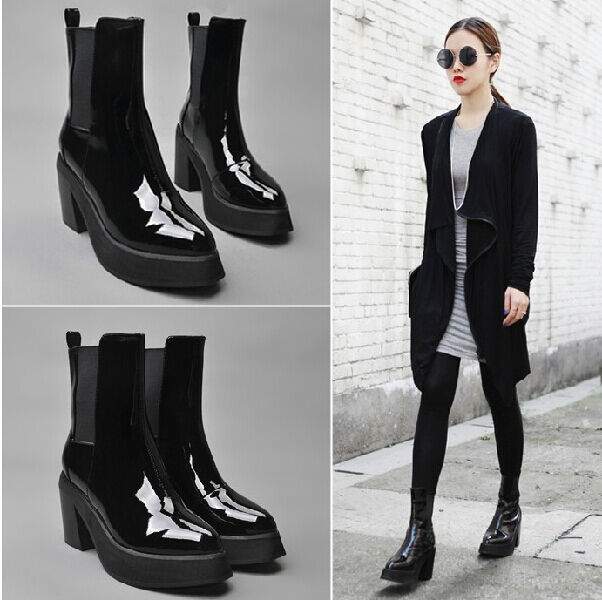 Womens calf Boots Pointed Toe Pumps shoes Chunky Heels Platform Patent Leather