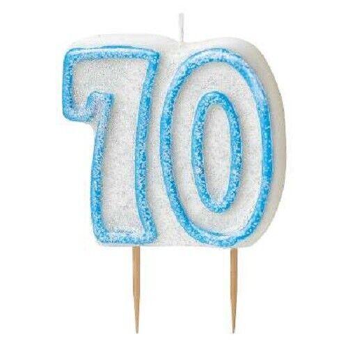 8 cm Bleu Glitz Num 70 bougie homme 70th Fête D/'Anniversaire Gâteau Décoration Fournitures