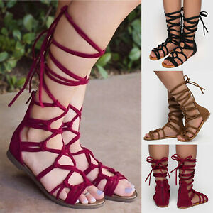 c7c6f6ffb1ed Image is loading Summer-Womens-Lace-Up-Strappy-Gladiator-Sandals-Casual-
