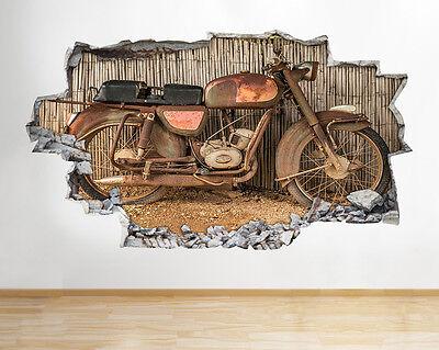 Moto vintage rétro cool garçons chambre smashed applique murale 3D art stickers