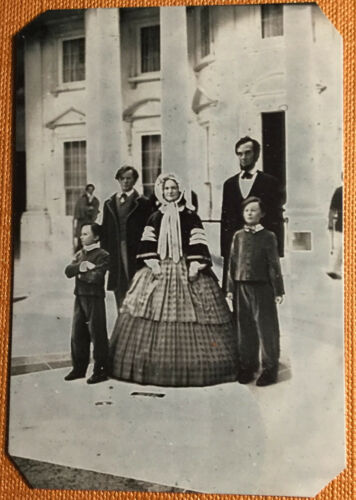 Lincoln Family in front of whitehouse tintype C1065RP Rare scene of President A