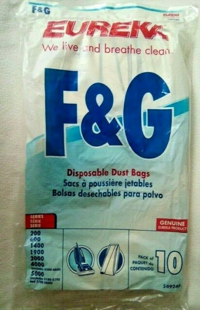 Eureka 54924B F&G Style Pack of 10 Disposable Dust Bags NIB