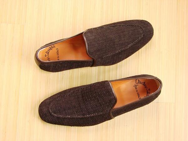 New SANTONI Men's Suede Loafers Dimensione 7.5 M US (6.5 EU)  Hand Made in