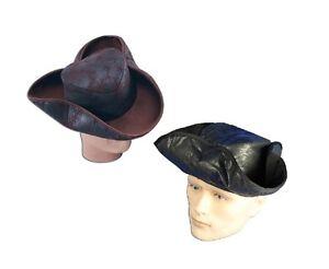 schwarz # Distressed Dreispitz Piraten Hut Kostüm 2 Farben