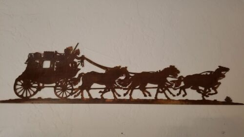 Stage Coach horses metal wall art country western home decor rustic patina