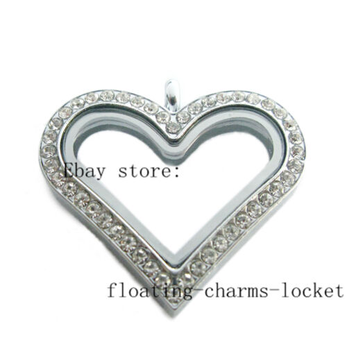 One Crystal Large Heart Copy Stainless Steel  Floating Memory Glass Locket