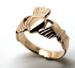 10mm 9ct REAL GOLD GENUINE White DIAMOND Celtic Claddagh Wedding Band Ring Gift