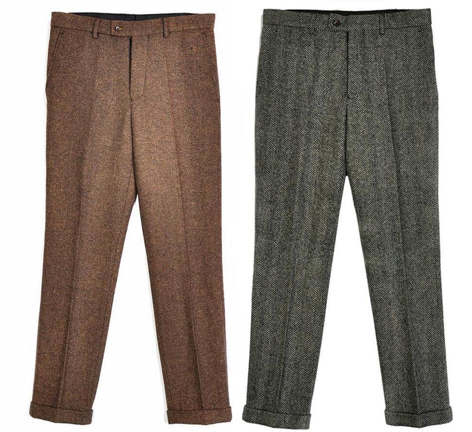 Men Slim Vintage Tweed Herringbone Fit Wool Dress Pants Work Wedding Trousers