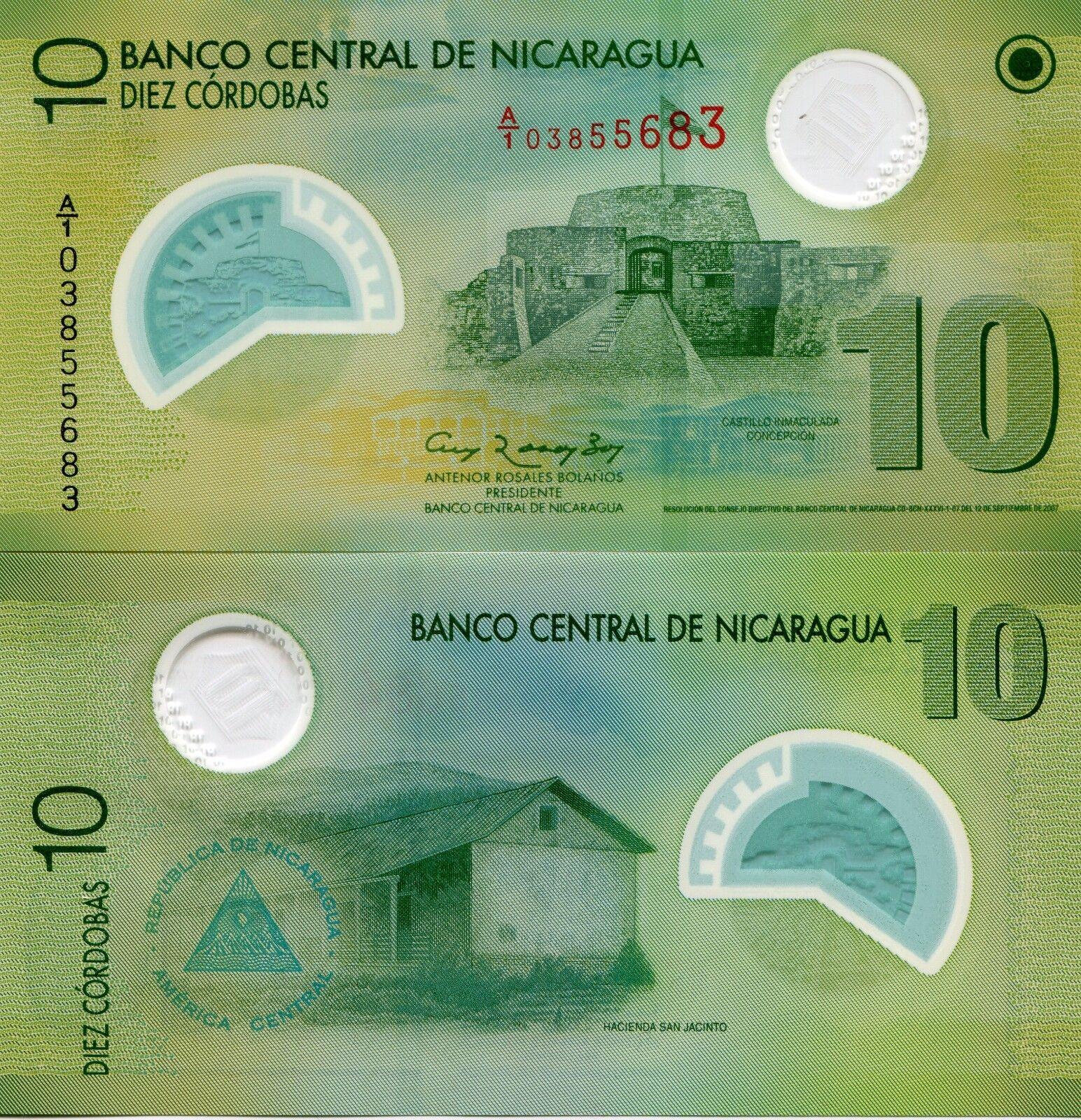 2007 UNC Nicaragua 10 Cordobas Polymer P-201