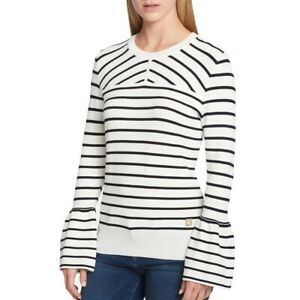 TOMMY-HILFIGER-Women-039-s-White-Textured-Striped-Bell-Sleeve-Knit-Shirt-Top-TEDO