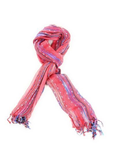 Stripe Hand knitted Print Scarf Ladies Cotton Wrap Pashmina  Lightweight