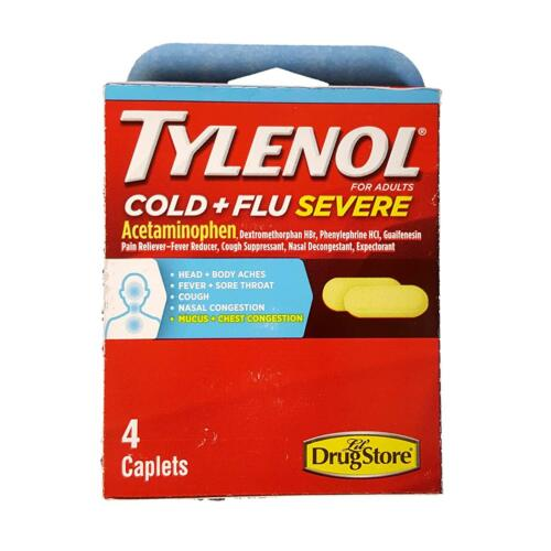 Tylenol Cold and Flu Severe Caplets, 4 caplets each